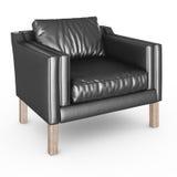 扶手椅子黑皮革 免版税库存图片