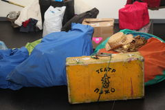 扶植剧院漫步的玩偶绅士Pezho的演员剧院抛光的休息室的 库存图片