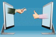 批准信用卡概念,从显示的两只手 有信用卡和赞许的手,象 3d例证 免版税库存图片