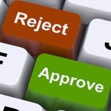 批准废弃物显示接受的计算机键盘或下降 免版税库存图片