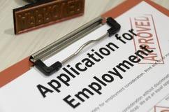 批准的工作申请书表单 免版税库存图片