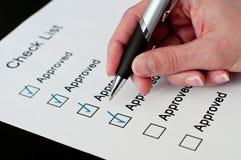 批准的核对清单 免版税库存照片