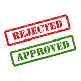 批准的邮票红色和被拒绝的邮票绿色 库存例证