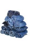 批次不同的蓝色牛仔裤 免版税库存照片