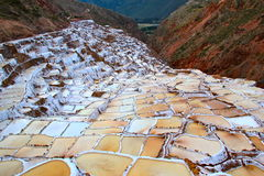 批评秘鲁神圣的盐沼盐谷 图库摄影