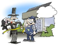 寻找在车库的承办人一个工作 皇族释放例证