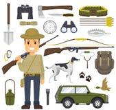 寻找套设备 与枪的猎人 寻找比赛,不同的辅助部件寻找的和野营 向量 库存照片