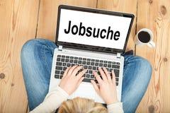 寻找工作(用德语) 免版税库存图片
