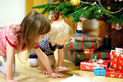 寻找礼物的两个姐妹在树下 免版税图库摄影