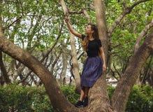 寻找Wi-Fi的树的女孩 免版税图库摄影