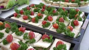 承办酒席与微型三明治的选择的自助餐桌 股票视频