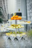 承办酒席服务 餐馆桌用食物 巨额在桌上的食物 食物牌照 晚餐时间,午餐 免版税库存照片