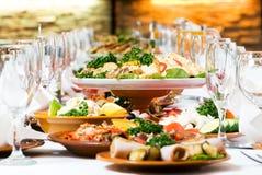 承办酒席装饰食物集合表 库存图片