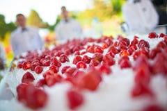 承办宴席(在冰的新鲜和水多的草莓) 免版税库存照片