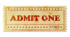 承认一张葡萄酒票 免版税库存图片