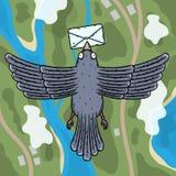 承运人发运飞行邮件鸽子 有一封信件的鸽子邮差在他的额嘴 顶视图 皇族释放例证