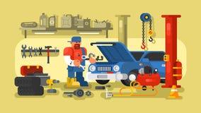 技工修理在车库的汽车 向量例证