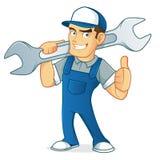 技工的例证有他的工具的 库存图片