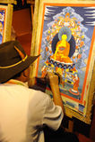 技工绘画tangka藏语 库存图片