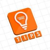 技巧和电灯泡标志,平的设计网象 库存照片