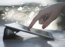 技术、成功和媒介概念 免版税库存照片