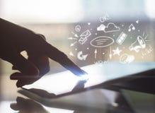 技术、成功和财务概念 库存图片