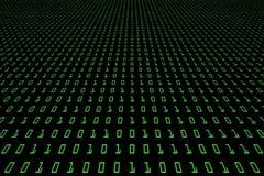 技术与二进制编码的数字式黑暗或黑背景的透视图象在浅绿色的颜色1001 免版税库存照片