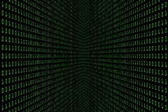 技术与二进制编码的数字式黑暗或黑背景的透视图象在浅绿色的颜色1001 库存照片