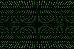 技术与二进制编码的数字式黑暗或黑背景的透视图象在浅绿色的颜色1001 库存图片