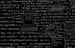 技术与编程的代码、节目流程图、惯例、技术设备和计划的传染媒介无缝的样式 图库摄影