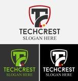 技术冠T信件商标 库存例证
