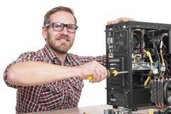 技术员修理装配计算机 图库摄影