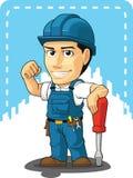 技术员或安装工动画片  免版税库存照片