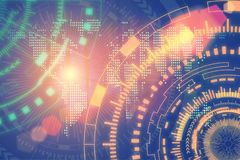 技术和连接背景概念 抽象futuristi 免版税库存图片