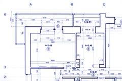技术图解项目计划,建筑背景 免版税库存图片