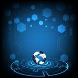 技术圈子和地球地球传染媒介在蓝色背景设计 库存图片