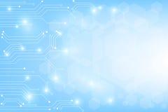 技术在蓝色背景的电路传染媒介 免版税库存图片