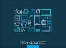 技术抽象背景,联合稀薄的线标志 免版税库存图片