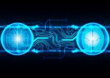 技术抽象脑子,科学接口,数字式bluepr 免版税库存图片