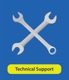 技术支持传染媒介与板钳和蓝色背景的标志标志 免版税库存图片
