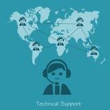 技术支持,操作员,在平的设计的传染媒介例证网站的 库存例证