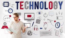 技术数字通信多媒体设备概念 免版税库存照片
