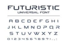 技术普遍向量字体 几何,体育,未来派,未来techno字母表 库存例证