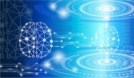 技术概念,数字式脑子天才 向量例证