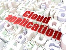 技术概念:在字母表backgrou的云彩应用 库存图片