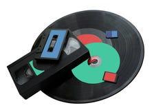 技术的变动从留声机圆盘对SD卡片 库存照片