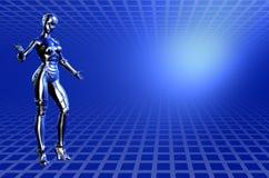 技术背景蓝色裁减路线的机器人 免版税库存图片