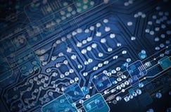 技术蓝色电路板背景 免版税库存图片