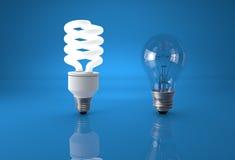 技术进展的概念 比较的节能电灯泡 免版税库存图片