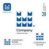技术Contstruction商标现代M信件企业身分品牌和App象标志概念集合模板 库存图片